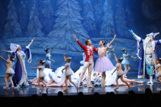 Masha & Nutcracker Prince in Snow Forrest with Father Christmas & Snow Maiden