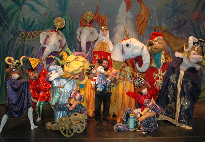 Moscow Ballet's Valentin Federov with puppet friends from the Great Russian Nutcracker