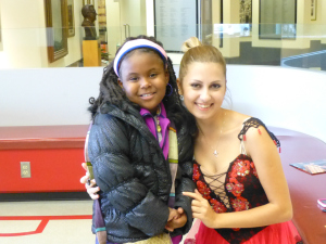 Carolina Siscanu and young patient atChildren's Hospital of Michigan