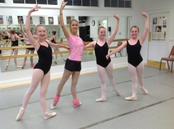 Moscow Ballet's Carolina Siscanu with student dancers at Oglebay Institute Wheeling