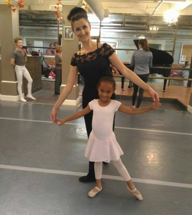 Alisa and student dancer in Bowling Green